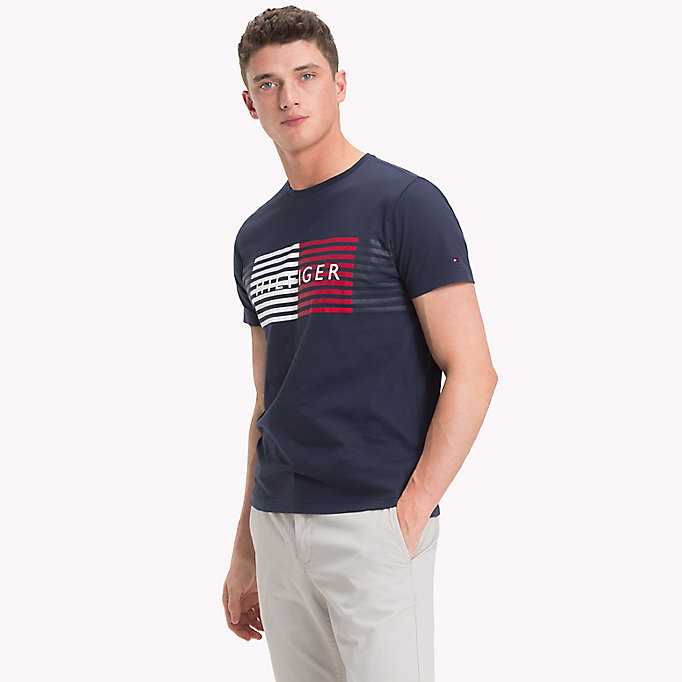 TOMMY HILFIGER T-shirt a righe con logo - CLOUD HTR - TOMMY HILFIGER Uomini - immagine principale