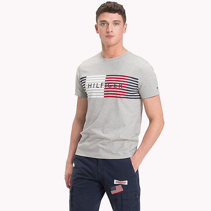 TOMMY HILFIGER Stripe Logo T-Shirt - BRIGHT WHITE - TOMMY HILFIGER Men - main image
