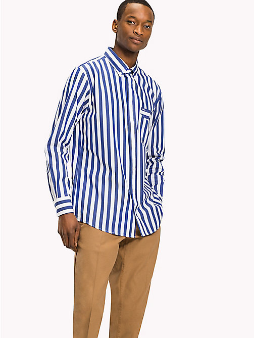 TOMMY HILFIGER Striped Logo Shirt - Be Bold - SURF THE WEB / BRIGHT WHITE - TOMMY HILFIGER Casual Shirts - detail image 1