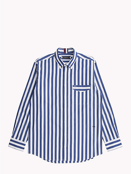 TOMMY HILFIGER Striped Logo Shirt - Be Bold - SURF THE WEB / BRIGHT WHITE - TOMMY HILFIGER Casual Shirts - main image