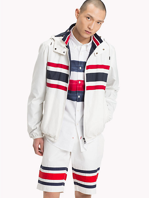 TOMMY HILFIGER Signature Stripe Hooded Jacket - SNOW WHITE 11-0602 - TOMMY HILFIGER Vacation Style - main image