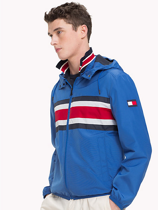 TOMMY HILFIGER Signature Stripe Hooded Jacket - STRONG BLUE 18-4051 - TOMMY HILFIGER Vacation Style - main image