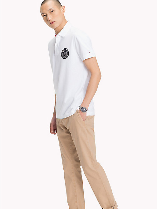 TOMMY HILFIGER Badge Appliqué Cotton Polo - BRIGHT WHITE - TOMMY HILFIGER Polo Shirts - main image