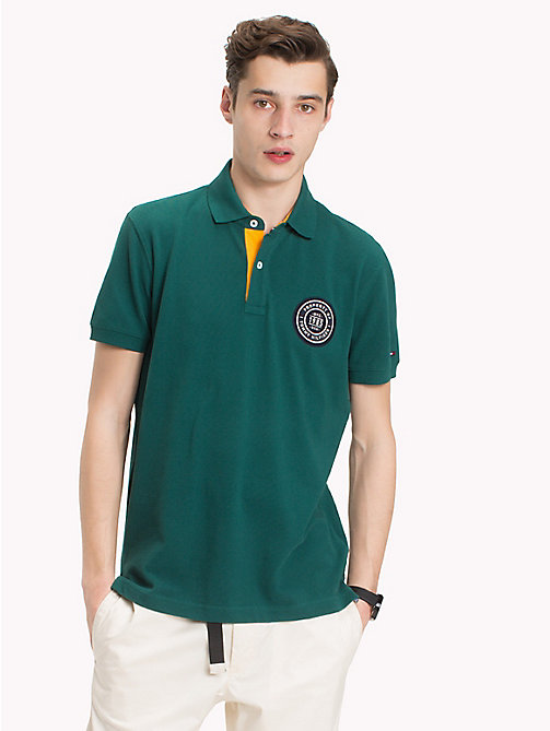 TOMMY HILFIGER Badge Appliqué Cotton Polo - FOREST BIOME - TOMMY HILFIGER Polo Shirts - main image