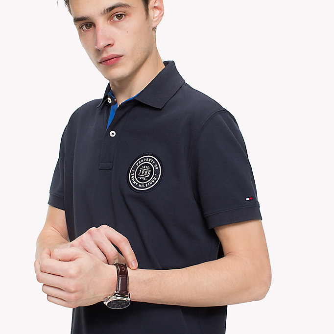 TOMMY HILFIGER Badge Appliqué Cotton Polo - FOREST BIOME - TOMMY HILFIGER Men - detail image 2
