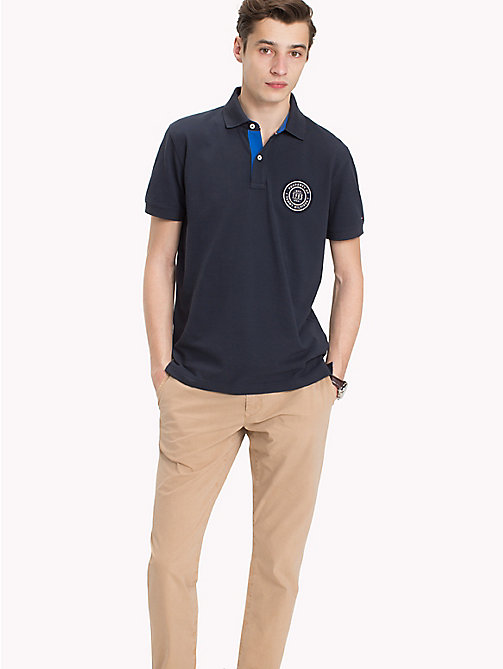 TOMMY HILFIGER Badge Appliqué Cotton Polo - SKY CAPTAIN - TOMMY HILFIGER NEW IN - main image