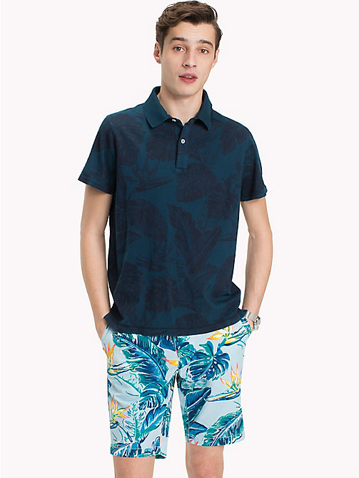 TOMMY HILFIGER Printed Slim Fit Polo Shirt - BLUE OPAL - TOMMY HILFIGER Polo Shirts - main image