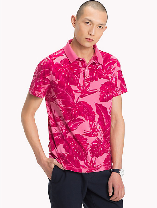 TOMMY HILFIGER Printed Slim Fit Polo Shirt - PINK LEMONADE - TOMMY HILFIGER Polo Shirts - main image