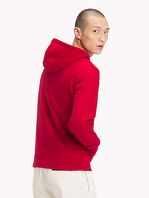TOMMY HILFIGER Drawstring Logo Hoodie - HAUTE RED - TOMMY HILFIGER Clothing - detail image 1