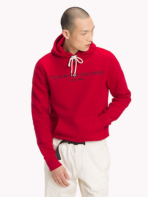 TOMMY HILFIGER Drawstring Logo Hoodie - HAUTE RED - TOMMY HILFIGER Clothing - main image