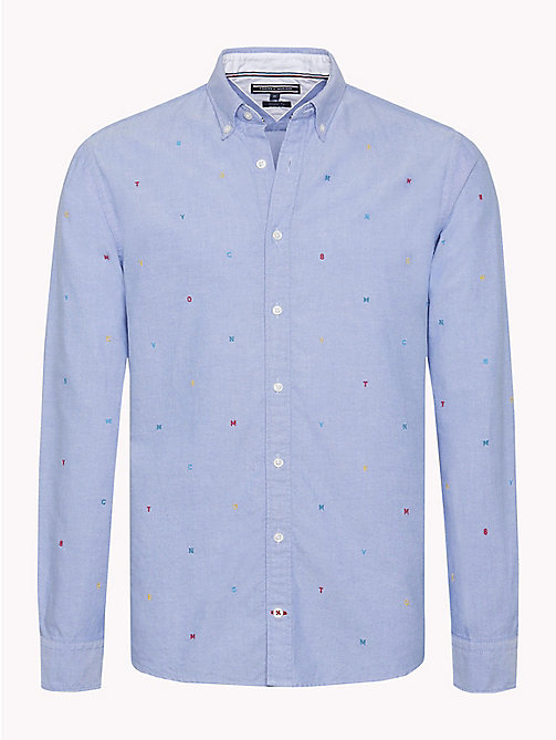 TOMMY HILFIGER All-Over Embroidery Cotton Shirt - SHIRT BLUE / MULTI - TOMMY HILFIGER NEW IN - main image
