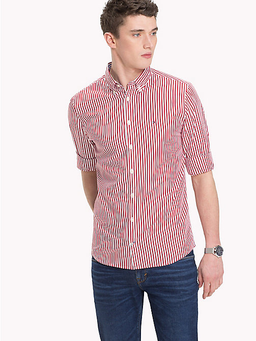 TOMMY HILFIGER All Over Stripe Shirt - HAUTE RED / BRIGHT WHITE - TOMMY HILFIGER Casual Shirts - detail image 1