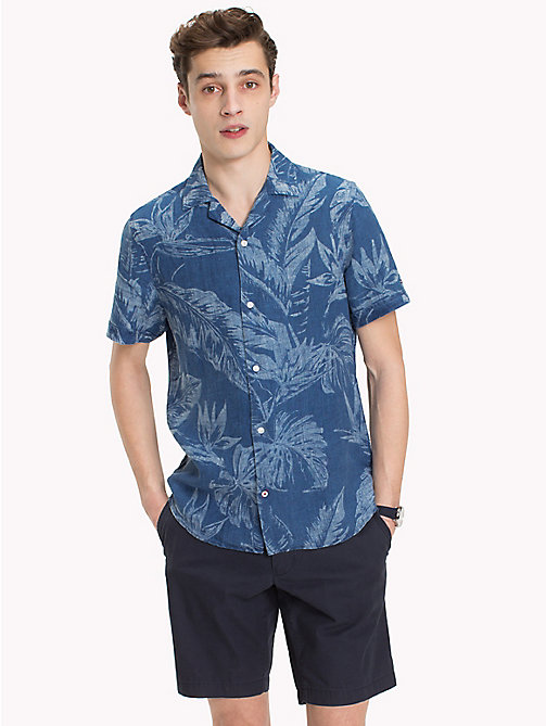TOMMY HILFIGER Leaf Print Linen Shirt - INDIGO -  Vacation Style - detail image 1