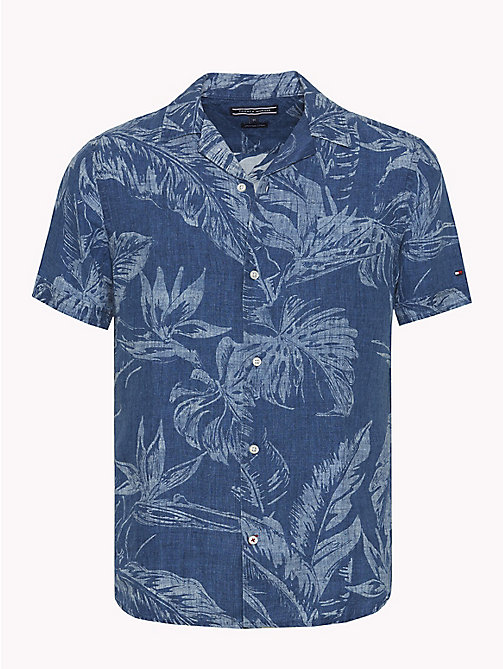 TOMMY HILFIGER Leaf Print Linen Shirt - INDIGO -  Vacation Style - main image