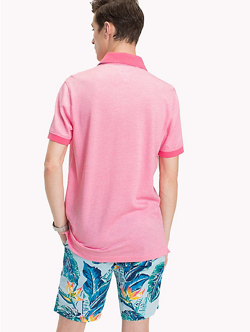 TOMMY HILFIGER Tropical Print Collar Polo Shirt - PINK LEMONADE - TOMMY HILFIGER Polo Shirts - detail image 1
