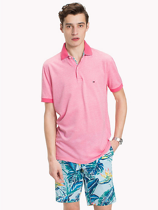TOMMY HILFIGER Tropical Print Collar Polo Shirt - PINK LEMONADE - TOMMY HILFIGER Polo Shirts - main image