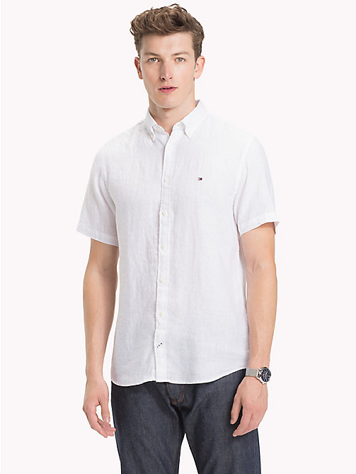TOMMY HILFIGER Linen Button Down Shirt - BRIGHT WHITE - TOMMY HILFIGER Casual Shirts - detail image 1