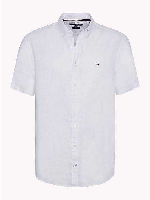 TOMMY HILFIGER Linen Button Down Shirt - BRIGHT WHITE - TOMMY HILFIGER Casual Shirts - main image