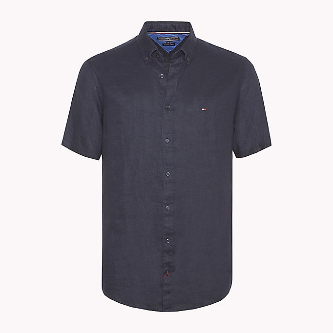 TOMMY HILFIGER Linen Button Down Shirt - STRONG BLUE - TOMMY HILFIGER Men - main image
