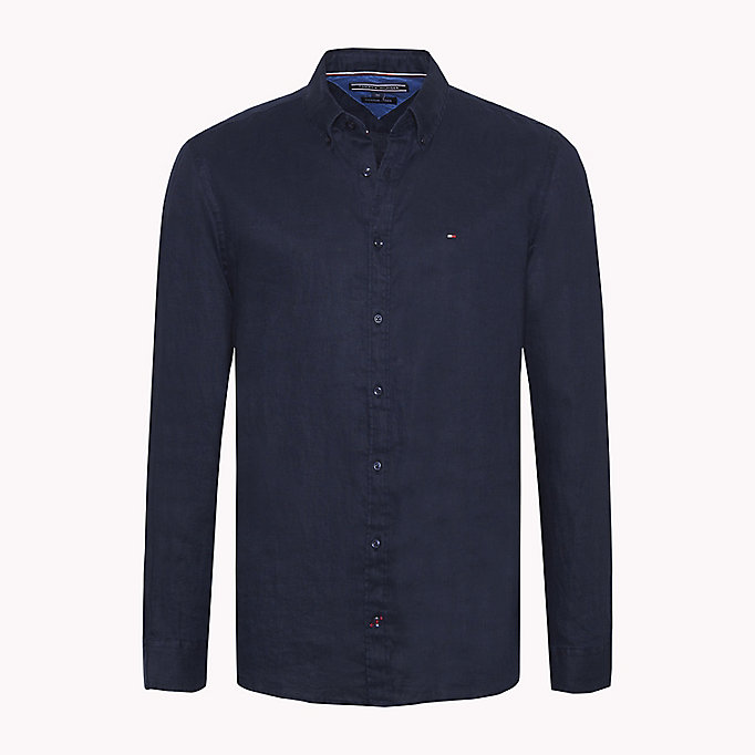 TOMMY HILFIGER Linen Regular Fit Shirt - STRONG BLUE - TOMMY HILFIGER Men - main image