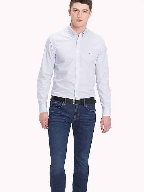 TOMMY HILFIGER Camicia slim fit stampata in cotone - BRIGHT WHITE / STRONG BLUE -  Camicie Casual - dettaglio immagine 1