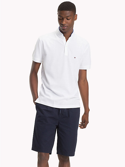 TOMMY HILFIGER Mandarin Collar Polo Shirt - BRIGHT WHITE - TOMMY HILFIGER Polo Shirts - main image