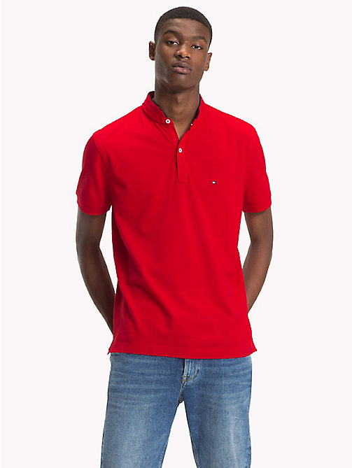 TOMMY HILFIGER Mandarin Collar Polo Shirt - HAUTE RED - TOMMY HILFIGER NEW IN - main image