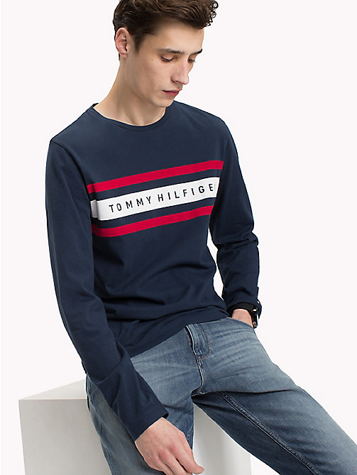 TOMMY HILFIGER Logo Band Long Sleeve T-Shirt - NAVY BLAZER - TOMMY HILFIGER T-Shirts - main image