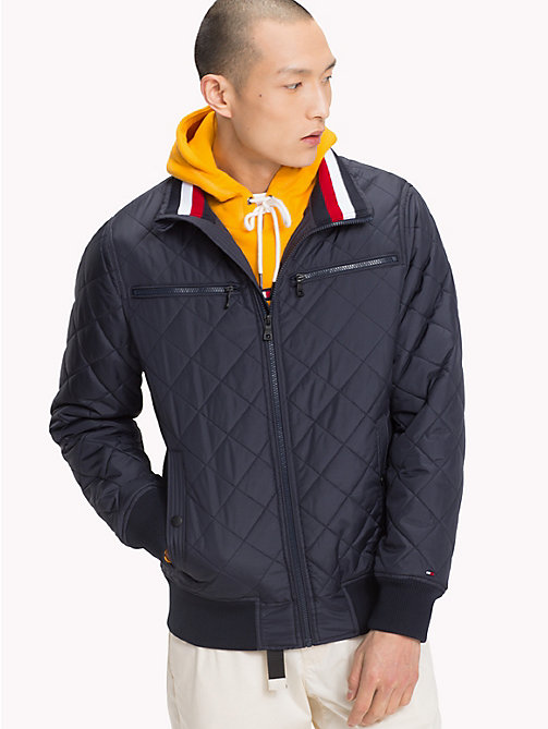 TOMMY HILFIGER Stripe Collar Bomber Jacket - 413-SKY CAPTAIN - TOMMY HILFIGER Clothing - main image