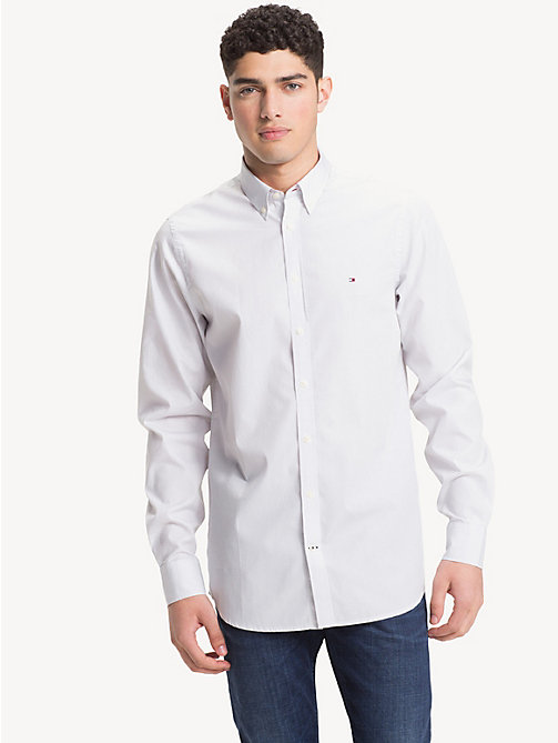 TOMMY HILFIGER Overhemd met microprint - BRIGHT WHITE / QUIET GREY - TOMMY HILFIGER Casual overhemden - detail image 1
