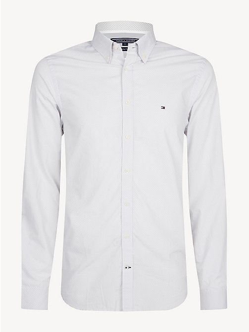 TOMMY HILFIGER Overhemd met microprint - BRIGHT WHITE / QUIET GREY - TOMMY HILFIGER Casual overhemden - main image