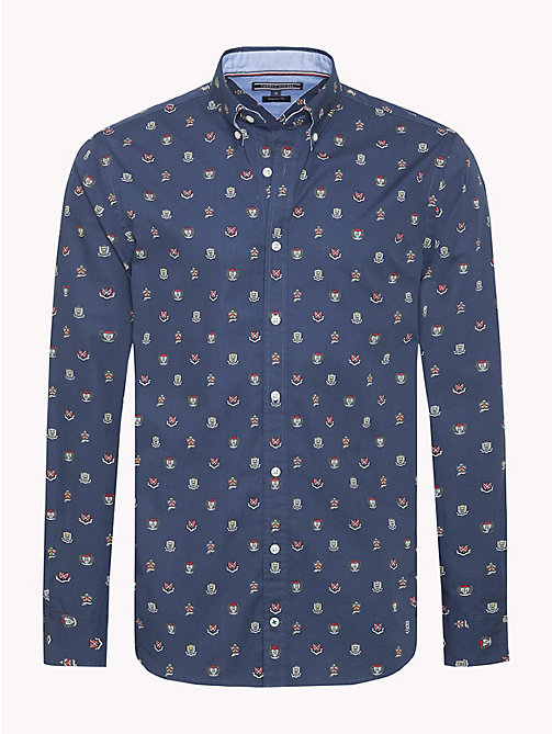 TOMMY HILFIGER Printed Crest Logo Shirt - BLACK IRIS / MULTI - TOMMY HILFIGER Casual Shirts - main image