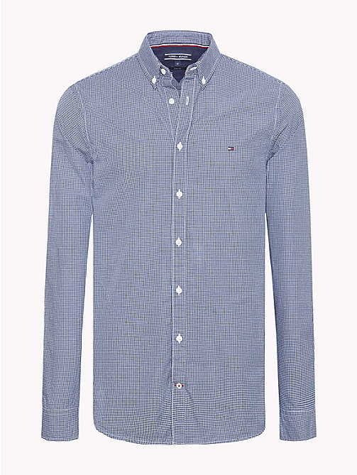 TOMMY HILFIGER Houndstooth Pure Cotton Shirt - MEDIEVAL BLUE / BRIGHT WHITE - TOMMY HILFIGER NEW IN - main image