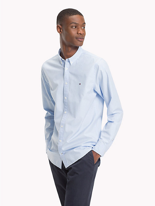TOMMY HILFIGER Baumwollhemd mit Hahnentrittmuster - LIGHT SHIRT BLUE / BRIGHT WHITE - TOMMY HILFIGER NEW IN - main image 1