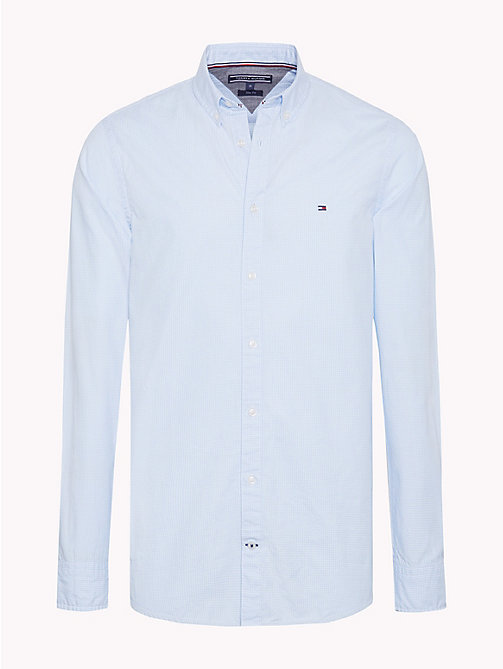 TOMMY HILFIGER Houndstooth Pure Cotton Shirt - LIGHT SHIRT BLUE / BRIGHT WHITE - TOMMY HILFIGER NEW IN - main image