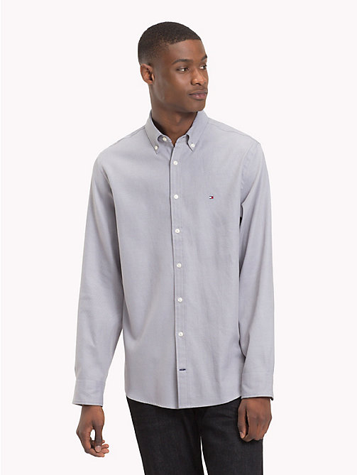 TOMMY HILFIGER Two-Colour Cotton Shirt - SILVER FILIGREE / MEDIEVAL BLUE - TOMMY HILFIGER Casual Shirts - detail image 1