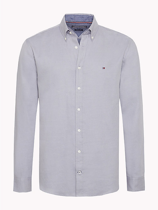 TOMMY HILFIGER Two-Colour Cotton Shirt - SILVER FILIGREE / MEDIEVAL BLUE - TOMMY HILFIGER Casual Shirts - main image
