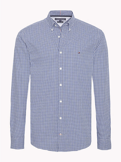TOMMY HILFIGER Gingham Check Cotton Shirt - BLUE DEPTHS / BRIGHT WHITE - TOMMY HILFIGER NEW IN - main image