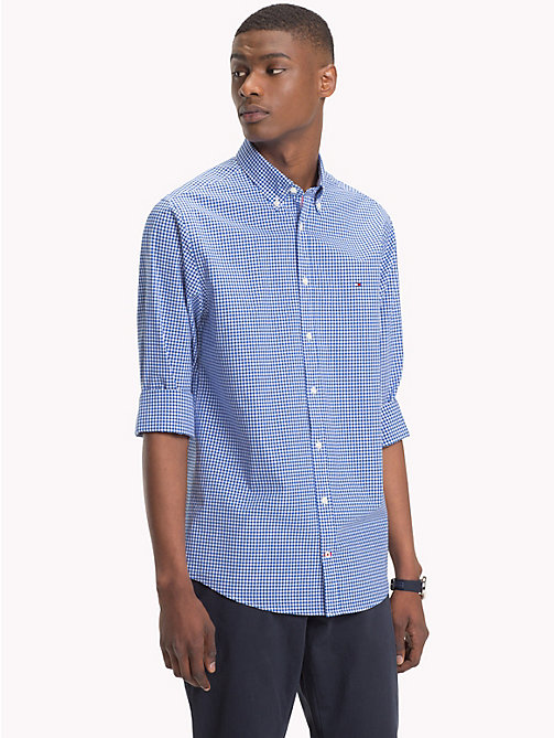 TOMMY HILFIGER Gingham Check Cotton Shirt - BLUE LOLITE / BRIGHT WHITE - TOMMY HILFIGER Casual Shirts - detail image 1