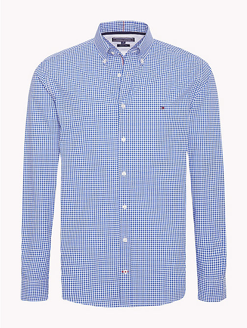TOMMY HILFIGER Gingham Check Cotton Shirt - BLUE LOLITE / BRIGHT WHITE - TOMMY HILFIGER Casual Shirts - main image