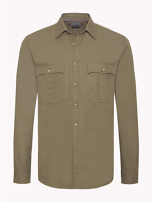TOMMY HILFIGER Military Twill Shirt - DUSTY OLIVE - TOMMY HILFIGER Casual Shirts - main image