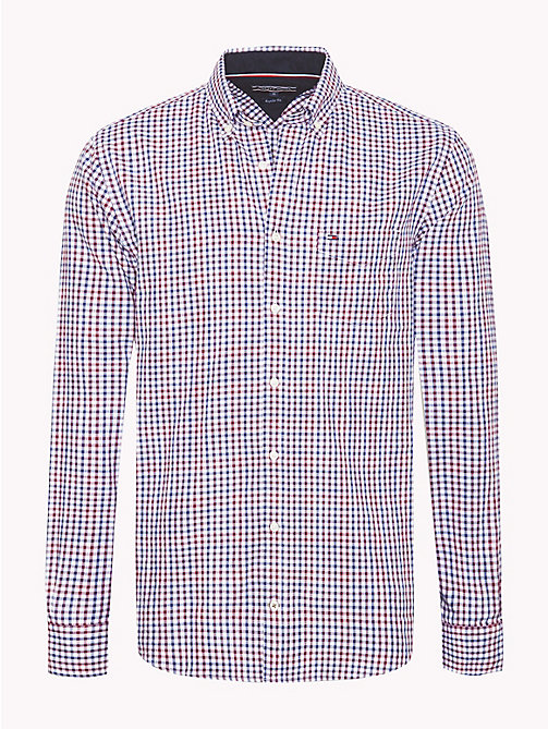 TOMMY HILFIGER Flannel Check Shirt - RHUBARB / MEDIEVAL BLUE - TOMMY HILFIGER NEW IN - main image