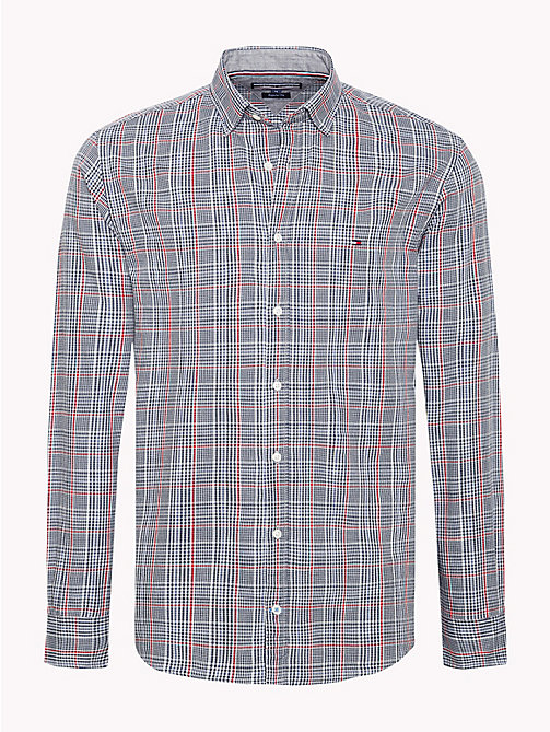 TOMMY HILFIGER Prince of Wales Check Shirt - CLOUD HTR / HAUTE RED - TOMMY HILFIGER NEW IN - main image