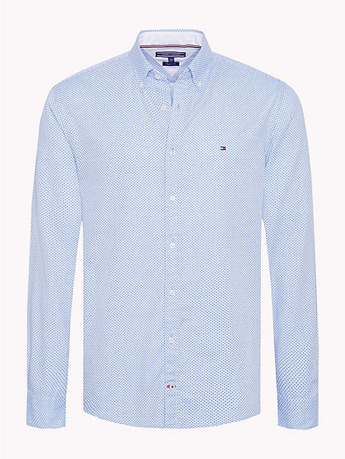 TOMMY HILFIGER Micro Print Cotton Shirt - SHIRT BLUE / COLONY BLUE - TOMMY HILFIGER Casual Shirts - main image