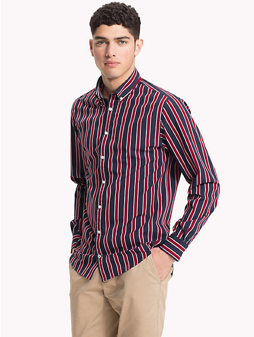 TOMMY HILFIGER Multi-Colour Regimental Stripe Shirt - HAUTE RED / BLACK IRIS - TOMMY HILFIGER Casual Shirts - detail image 1