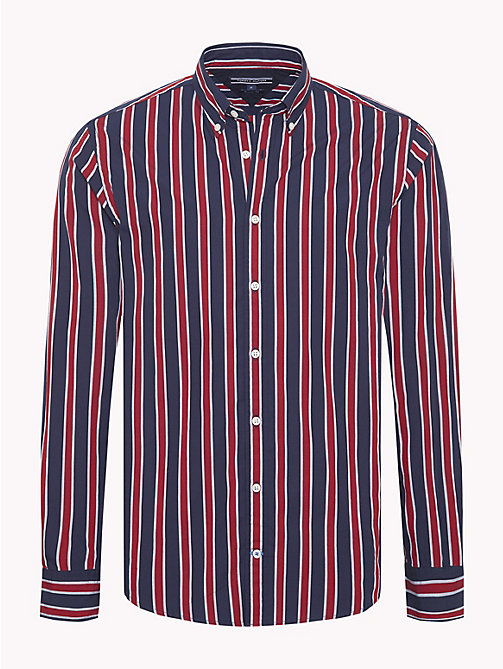 TOMMY HILFIGER Multi-Colour Regimental Stripe Shirt - HAUTE RED / BLACK IRIS - TOMMY HILFIGER Casual Shirts - main image