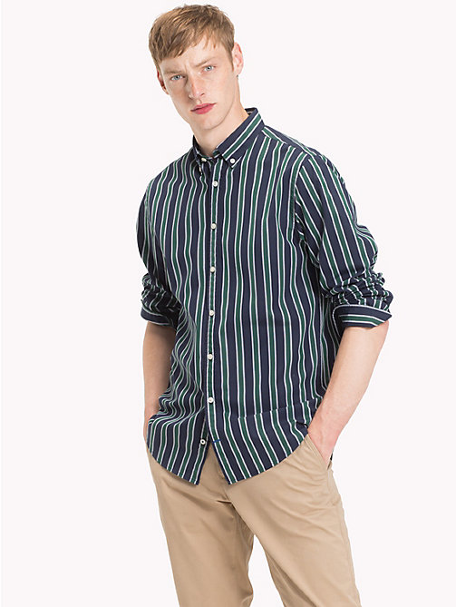 TOMMY HILFIGER Multi-Colour Regimental Stripe Shirt - HUNTER GREEN/BLACK IRIS - TOMMY HILFIGER Casual Shirts - detail image 1