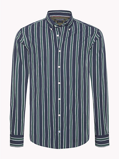 TOMMY HILFIGER Multi-Colour Regimental Stripe Shirt - HUNTER GREEN / BLACK IRIS - TOMMY HILFIGER Casual Shirts - main image