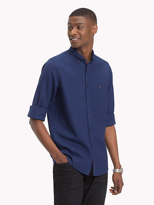 TOMMY HILFIGER Textured Cotton Shirt - MEDIEVAL BLUE - TOMMY HILFIGER Casual Shirts - detail image 1