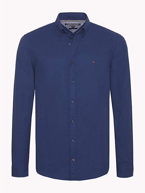 TOMMY HILFIGER Textured Cotton Shirt - MEDIEVAL BLUE - TOMMY HILFIGER Casual Shirts - main image